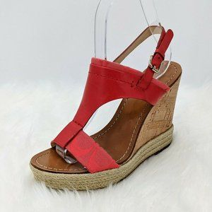Coach Mendez Red Leather T Strap Wedge Heels 5.5 B